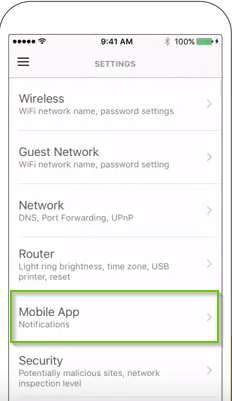 Norton Core settings menu with mobile app highlighted