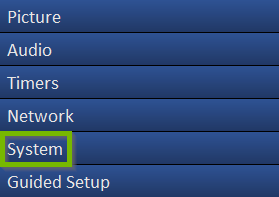 A Vizio TV menu showing system highlighted