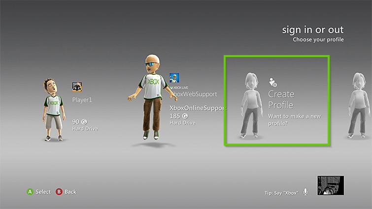 Xbox 360 create profile selection