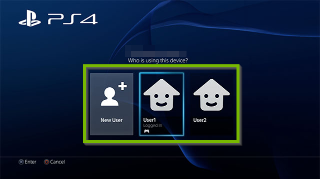 PS4 User menu. Screenshot.