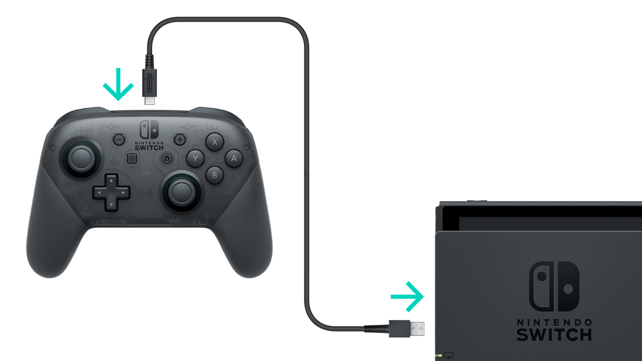 Nintendo Pro Controller being plugged into the Switch Dock