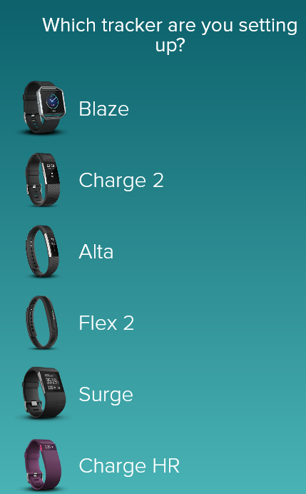 List of Fitbit products. Screenshot.
