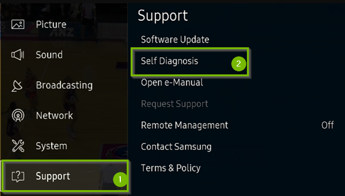TV menu with Support, then Self Diagnosis selected. Screenshot.