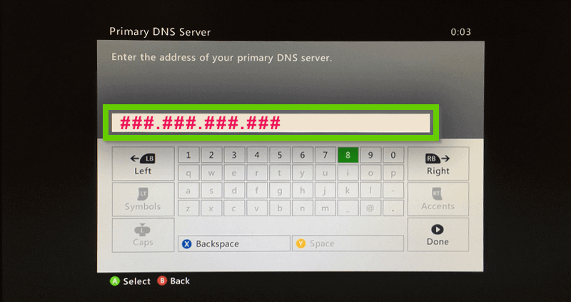 Xbox 360 dns address field