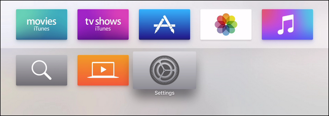 Apple TV home page showing Settings highlighted.