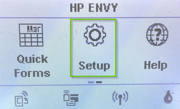 HP Envy setup screen