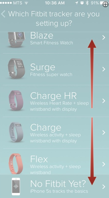 List of fitbit chargers with red arrows pointing up and down