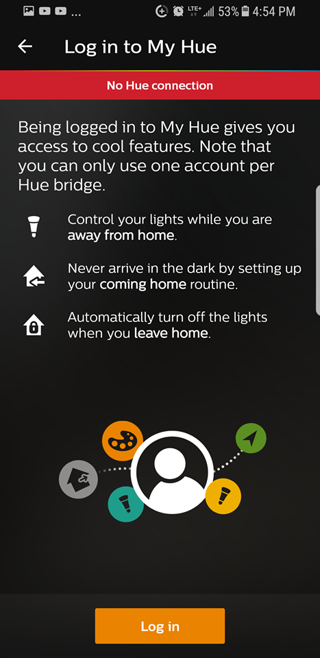 Prompt to login to Hue account.