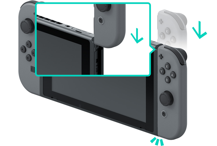 Nintendo Switch console with the Joy-Con's being attached