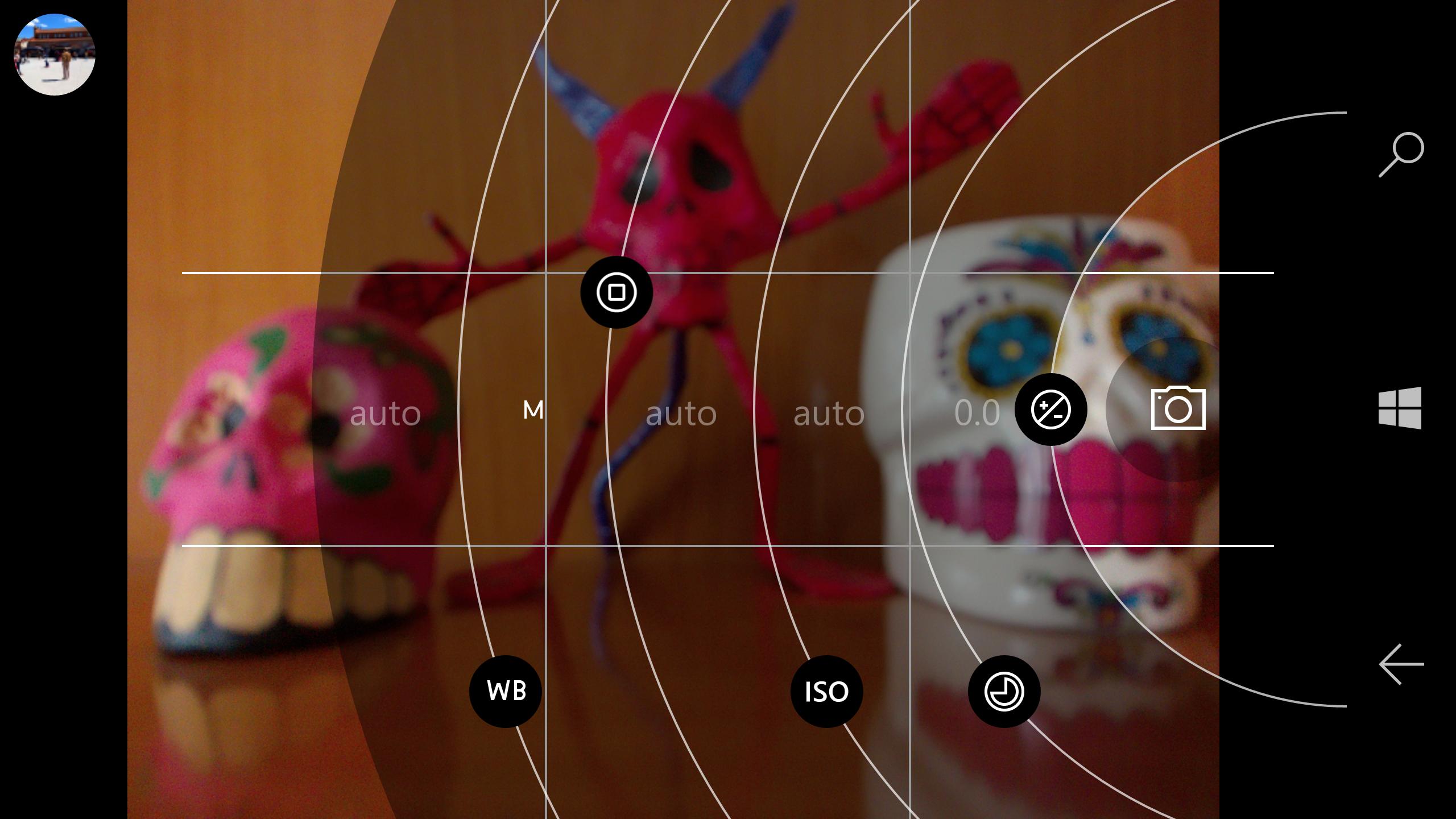 Camera settings. Screenshot.
