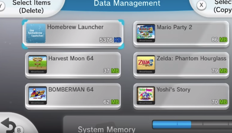 Wii u data management menu showing various games with one selected