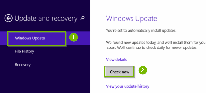 Windows 8.1 update and recovery menu with Windows update and check now highlighted