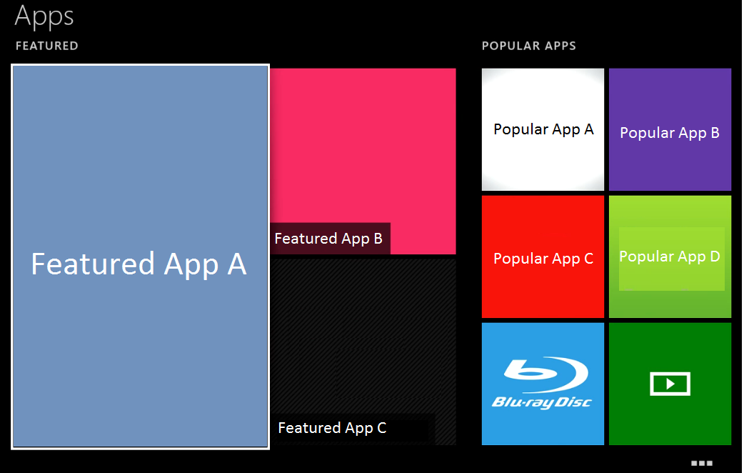 Apps window with Featured App A highlighted