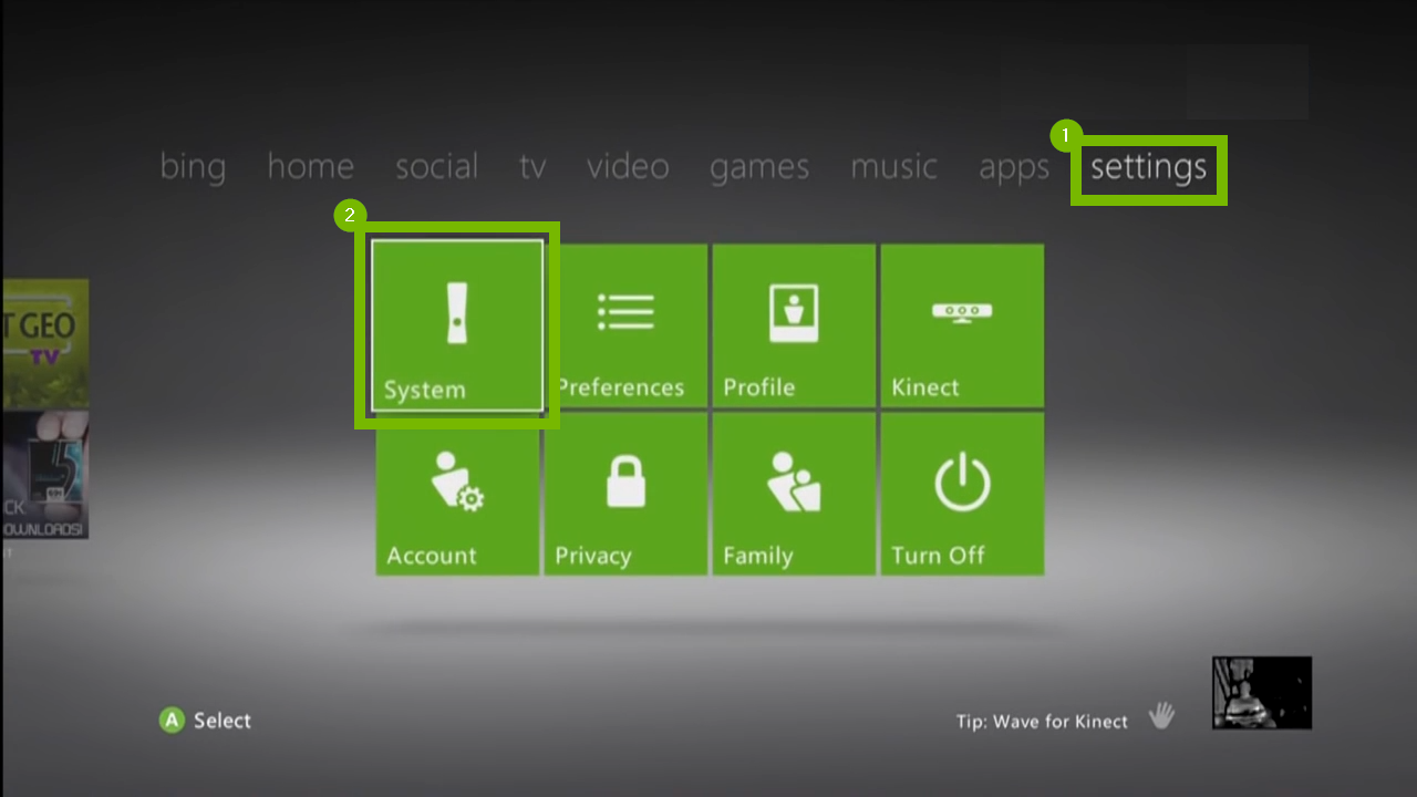 Xbox 360 settings menu with system highlighted