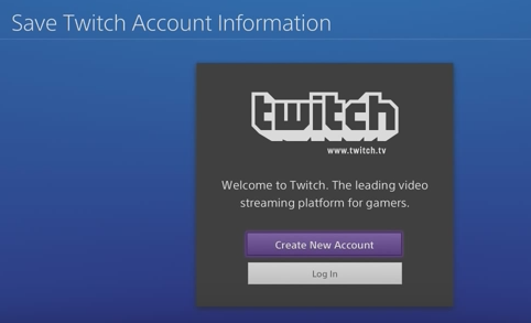 Twitch sign in screen. Screenshot.