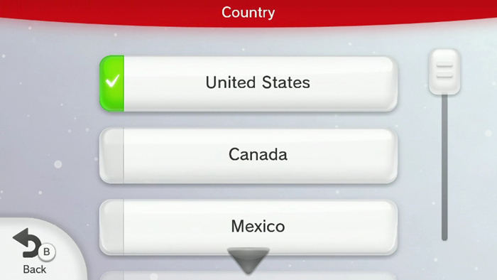 Wii u setup with country of residence