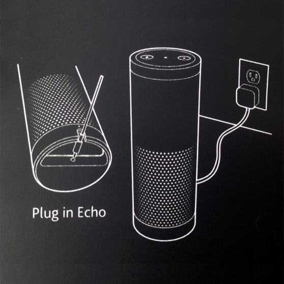 Illustration of an Amazon Echo showing how to plug in