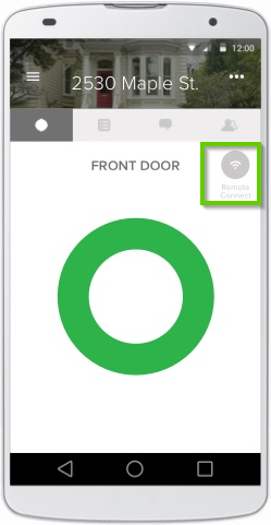 August Home app page with wi-fi button off circled