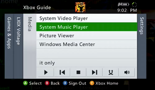 Xbox 360 media with system music player selected