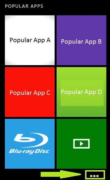 Popular apps showing different apps