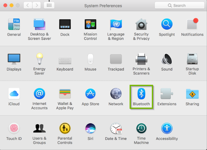System Preferences window with Bluetooth selected. Screenshot.