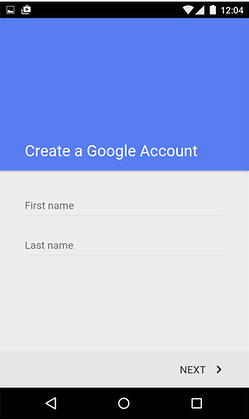 Google account fields for first and last name