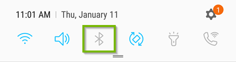 Quick Menu Settings with Bluetooth icon highlighted.