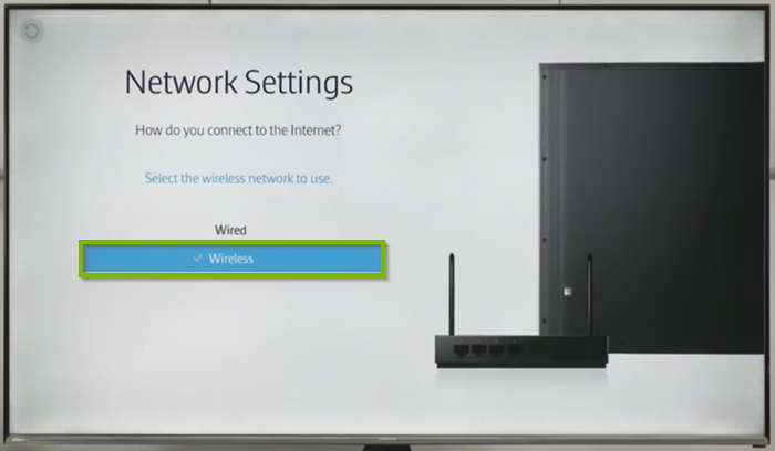 Wireless option highlighted on Network Settings screen.
