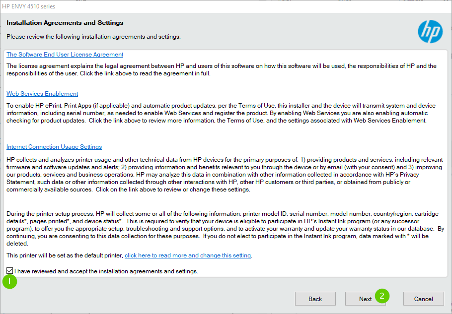 HP printer software terms of service