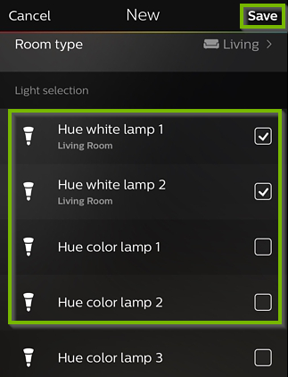 Philips Hue app with a list of bulbs. Next to each bulb there is a checkbox. The save button is in the upper right corner.
