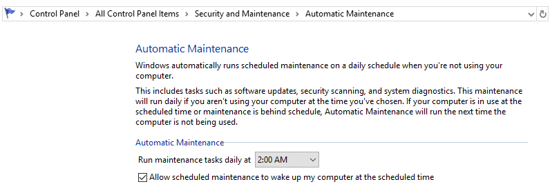 Windows 10 control panel window for Automatic maintenance showing scheduled maintenance checked
