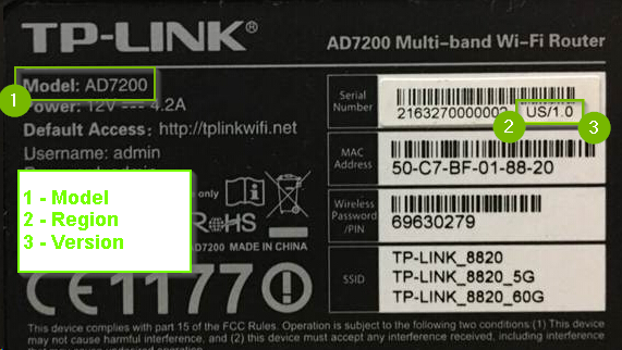 Example of TP-Link label with model, region and serial number highlighted