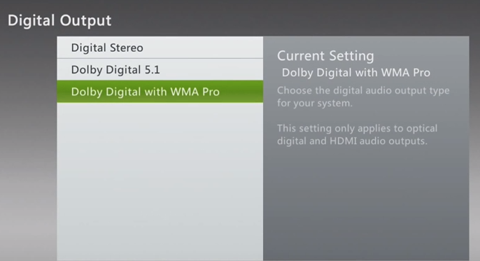 Xbox 360 audio selections for digital output