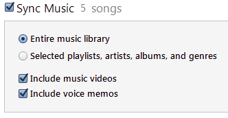iTunes menu for syncing music