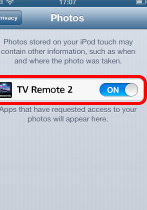 iOS photo settings showing TV Remote 2 turned on for access