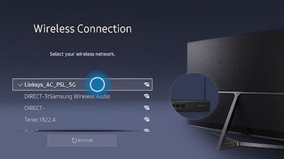 Samsung wireless connection menu showing selected SSID