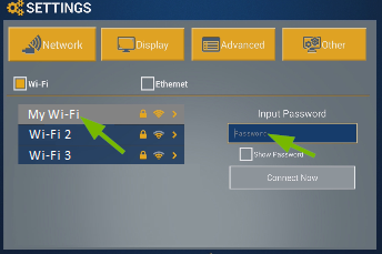 Wi-Fi network and Input Password box highlighted.