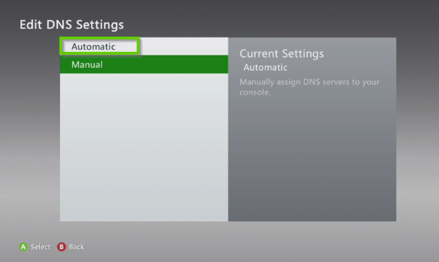 Xbox 360 edit dns settings with automatic highlighted