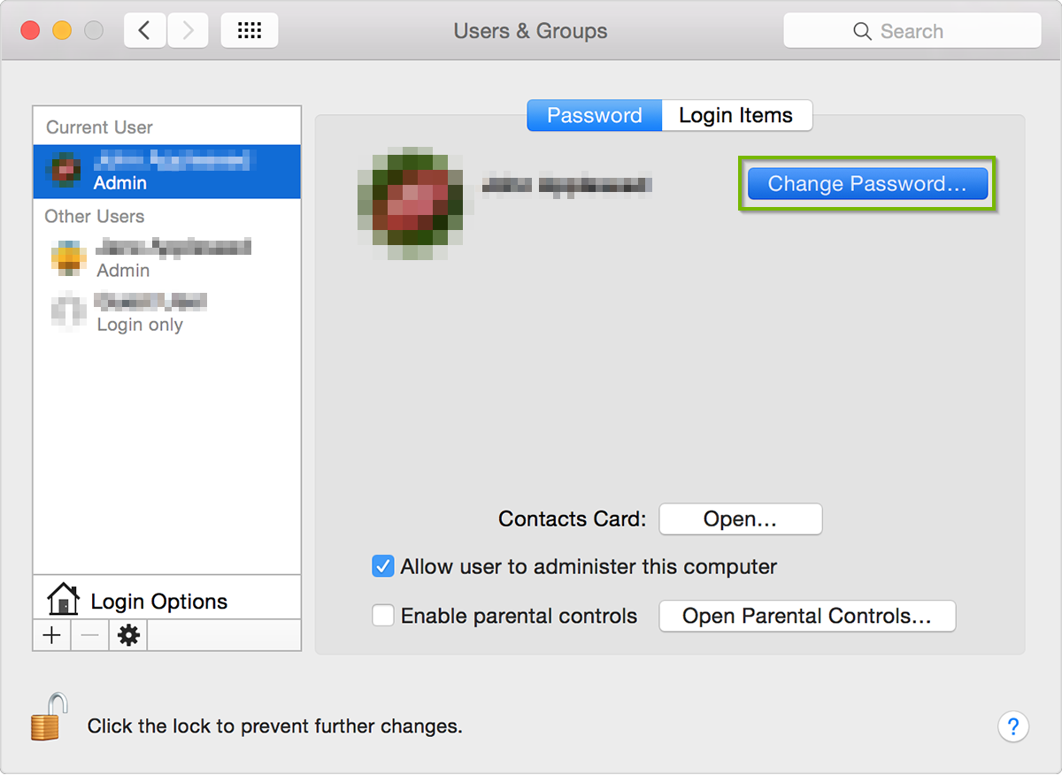 Screenshot of the Users & Groups screen with the Change Password button selected.