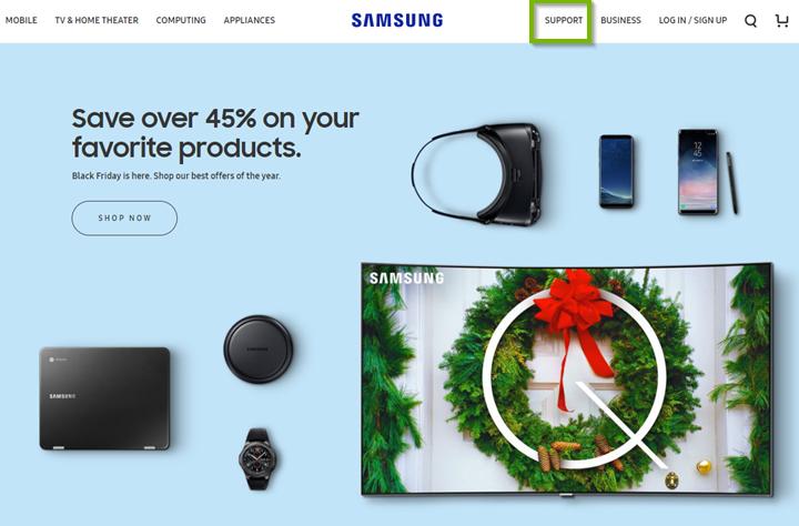 Samsung website with Support menu selected. Screenshot.
