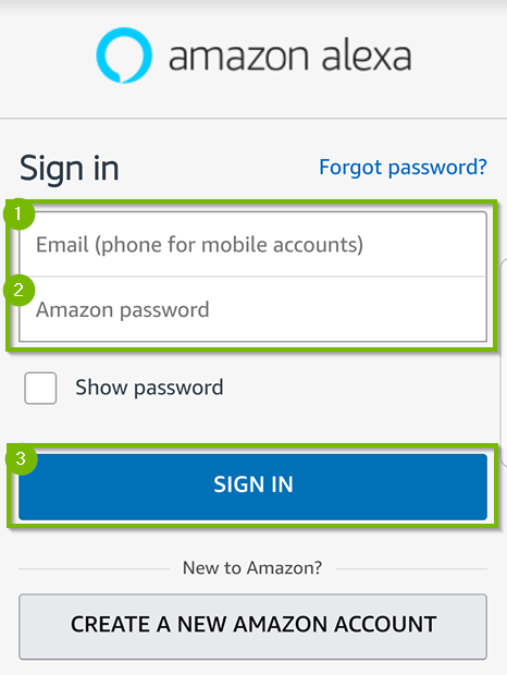 Amazon Alexa sign in. Screenshot.