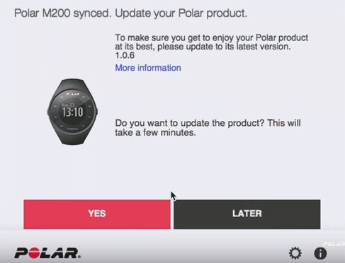 A popup asking if you want to update the firmware of your polar m200