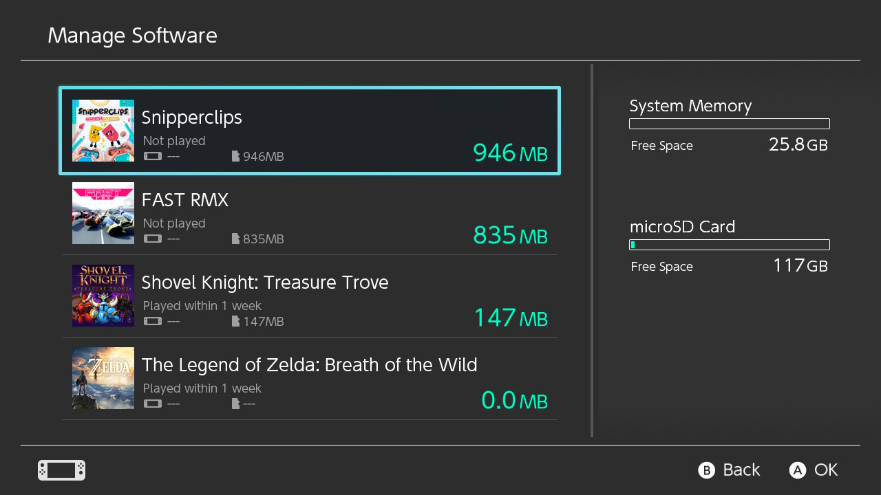 Nintendo Switch manage software menu displaying a list of currently installed games.
