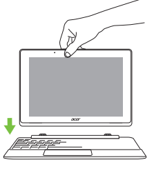 An acer one 10 system showing the keyboard clipping together
