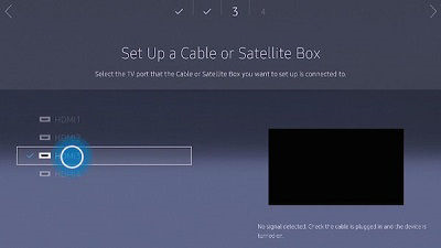 Samsung tv setup a cable or satellite box