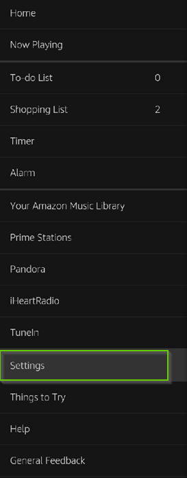 Amazon Alexa app menu with settings highlighted