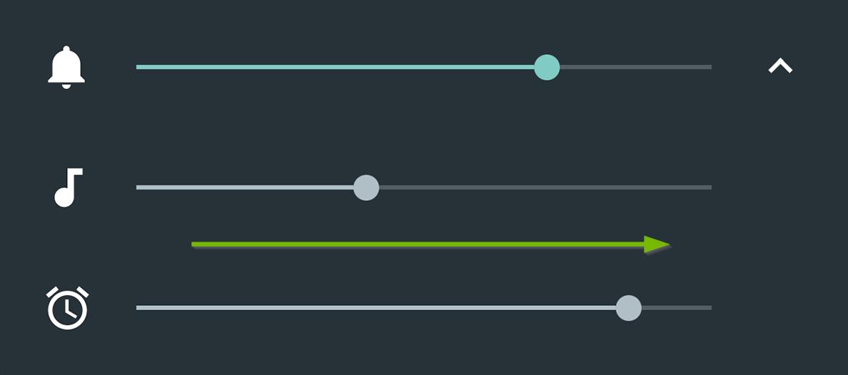 Volume levels. Screenshot.