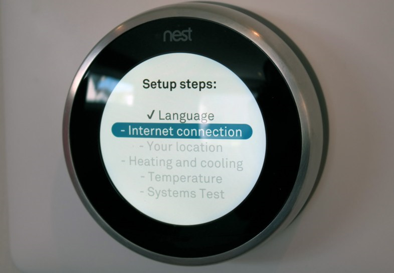 Nest thermostat with internet connection highlighted