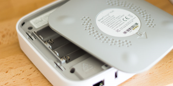 The back of a Smartthings hub with the battery panel removed