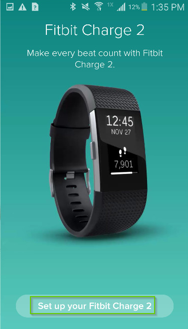 Fitbit app screenshot with Set up your fitbit device is highlighted